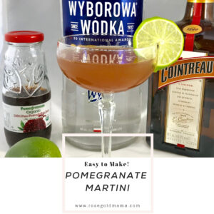 The pomegranate martini is a great twist on the cosmopolitan. If you want to mix up your homemade martinis, this is a sure crowd pleaser for happy hour with the neighbors.